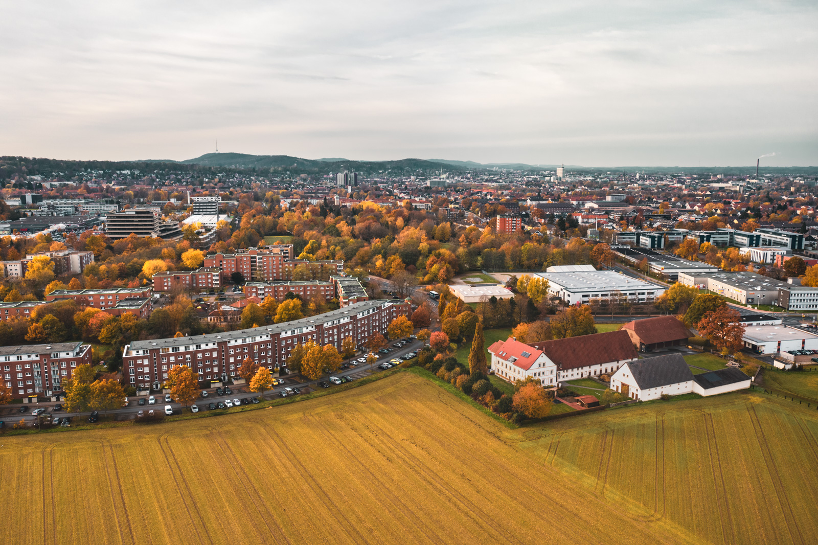 Bielefeld city centre seen from the Stieghorst district (Germany).