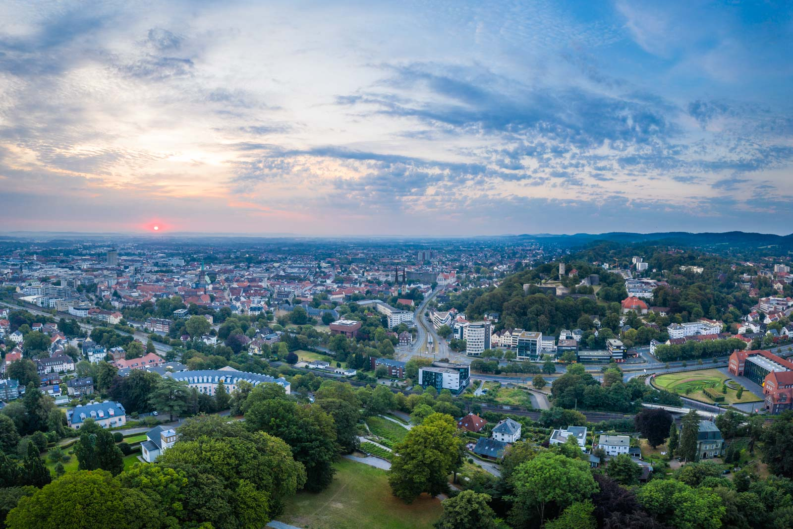 Sunrise over the city centre in August 2020 (Bielefeld, Germany).