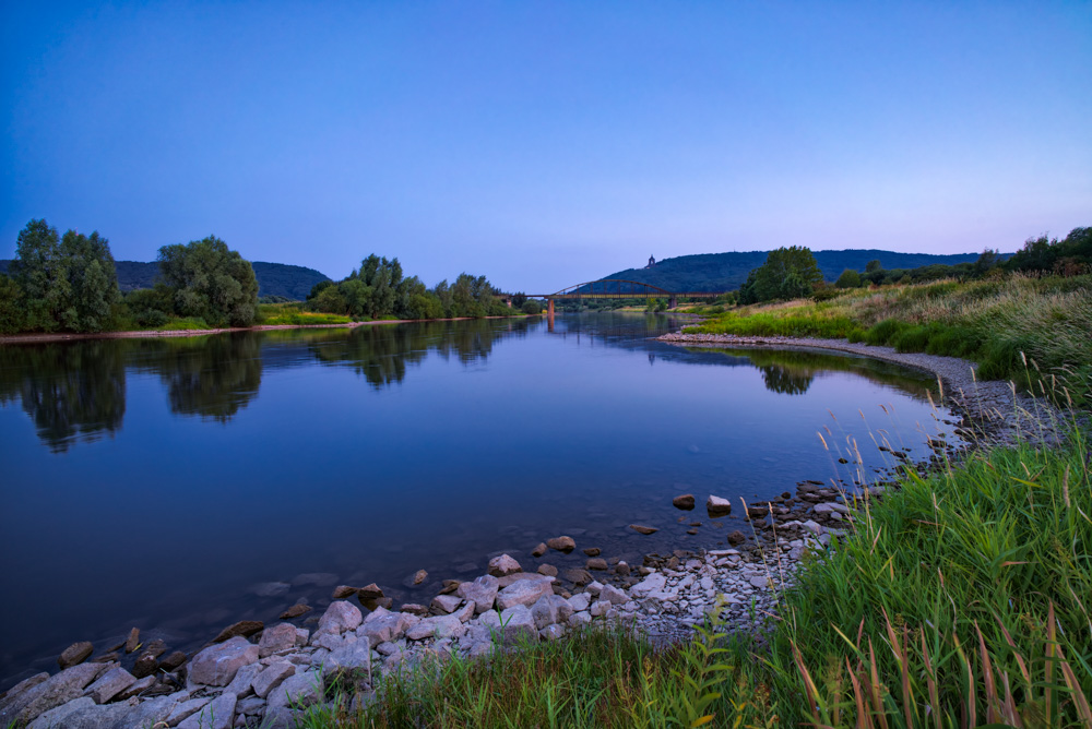 River Weser on a summer evening at Porta Westfalica