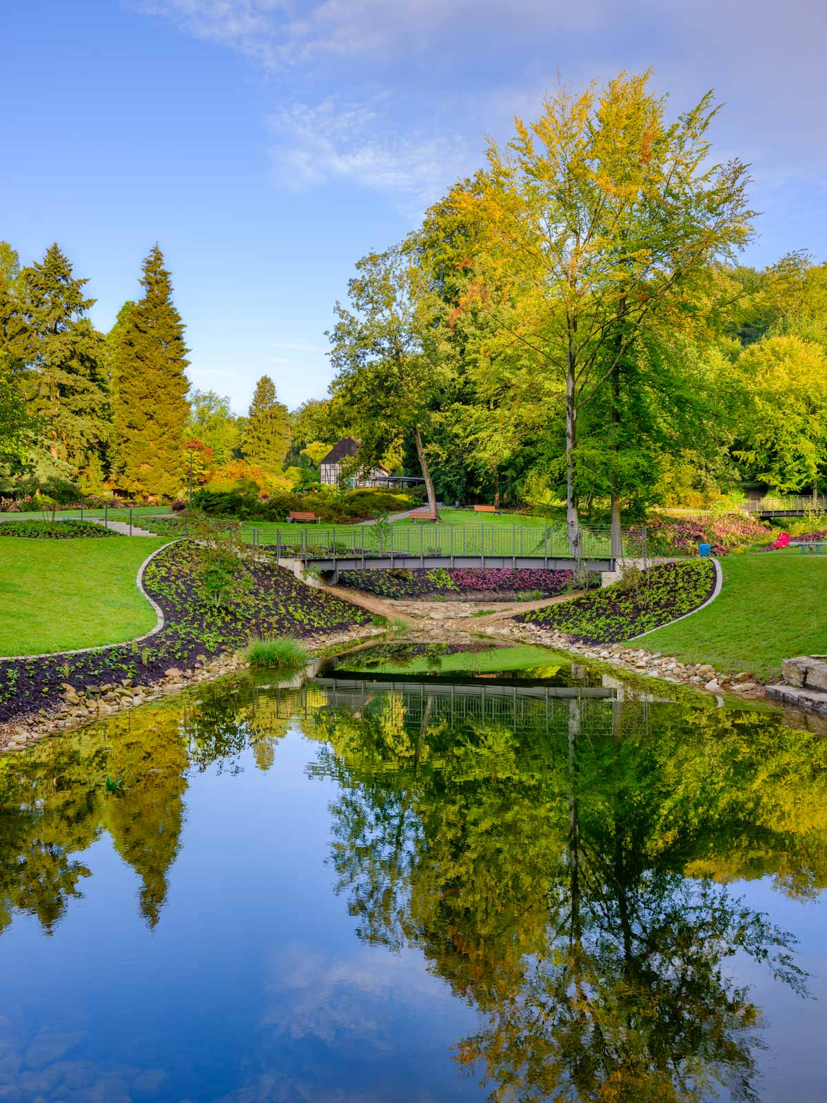 Botanical Garden Bielefeld early in the morning on 9 September 2020 (Germany).