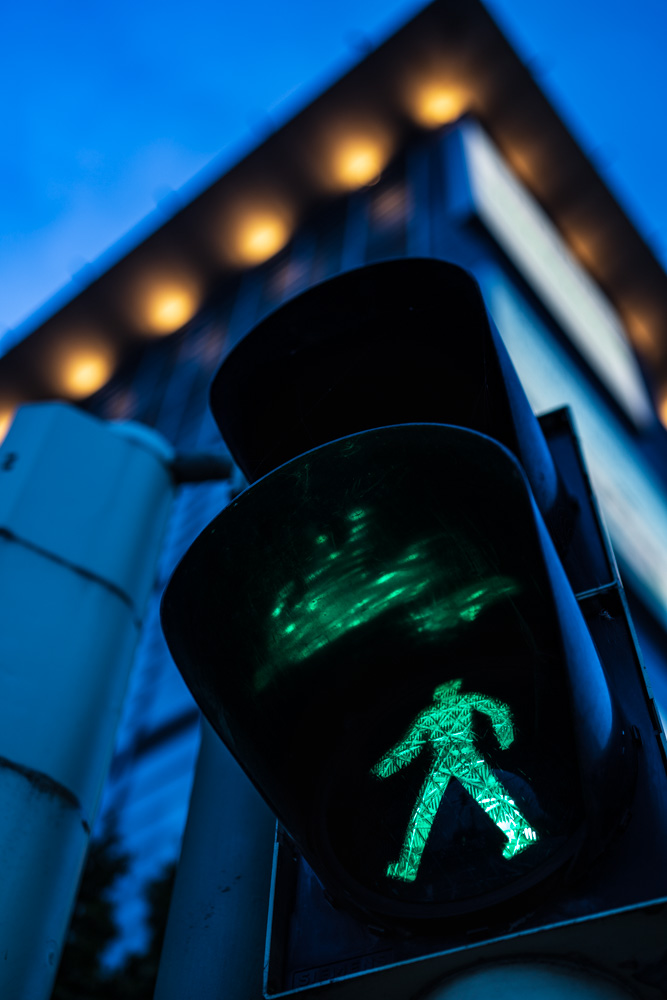 Green traffic light man