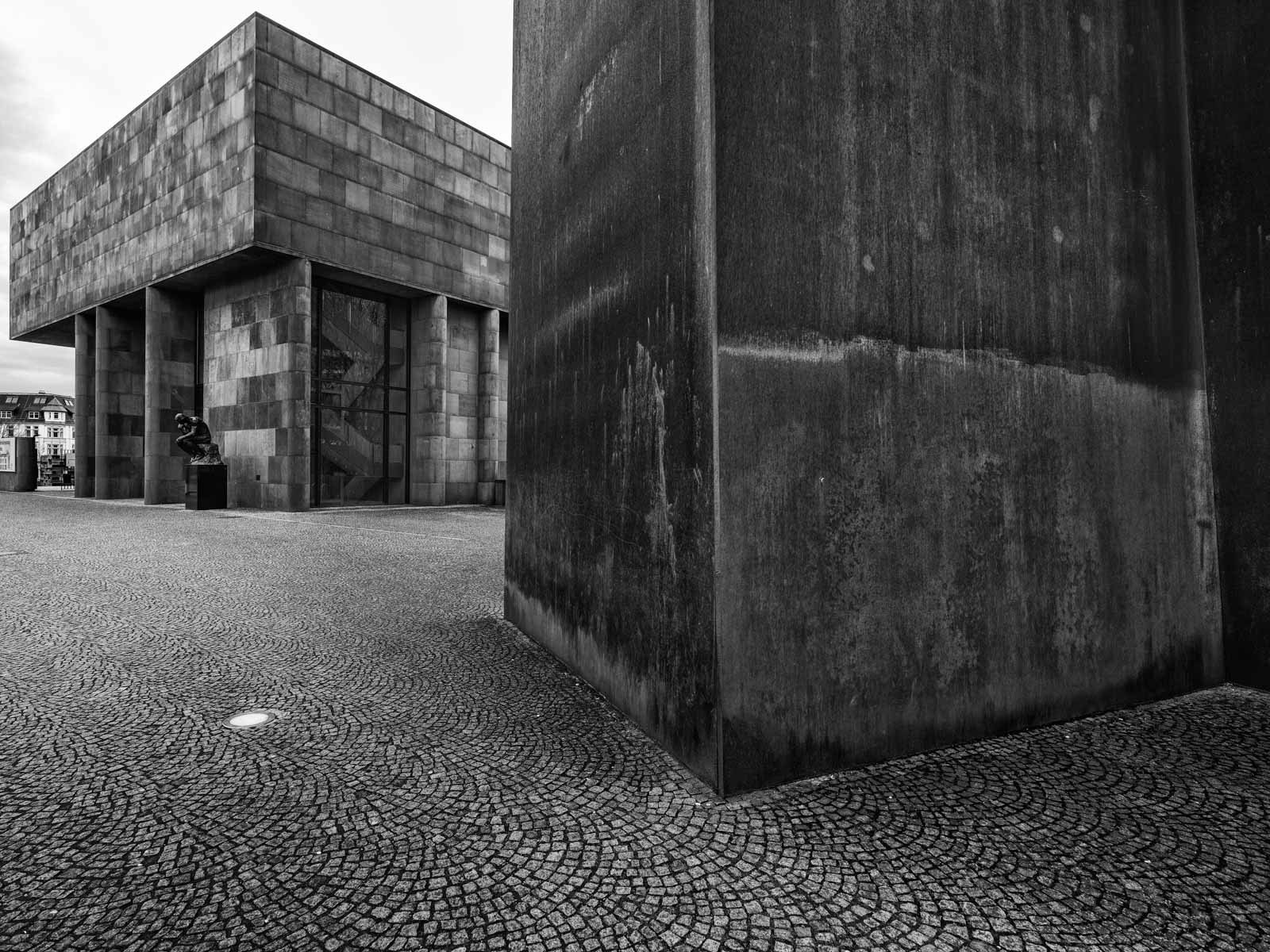 Sculpture 'Axis' by Richard Serra in front of the Kunsthalle Bielefeld (Germany).