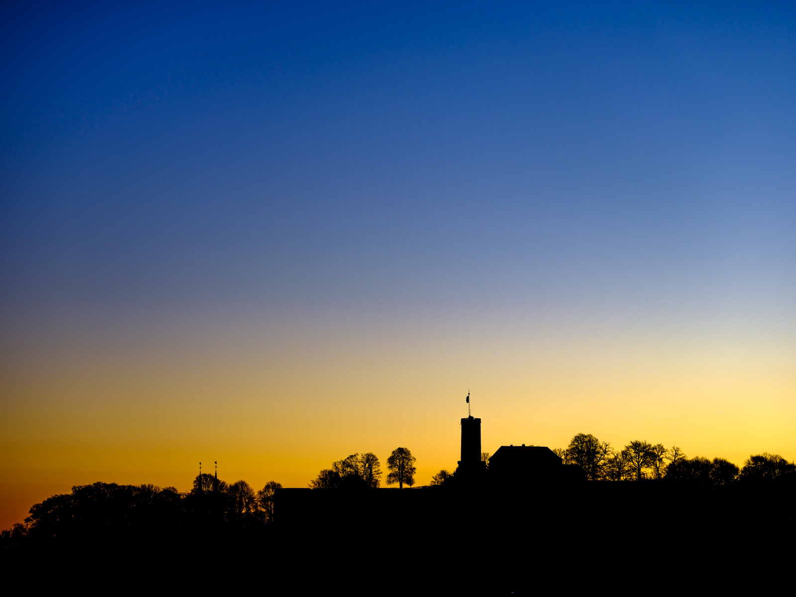 Sparrenburg Castle silhouette at dawn.