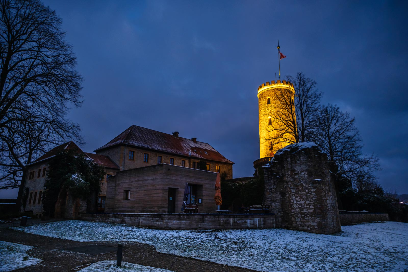 Early winter morning at the 'Sparrenburg' on January 9, 2021 (Bielefeld, Germany).