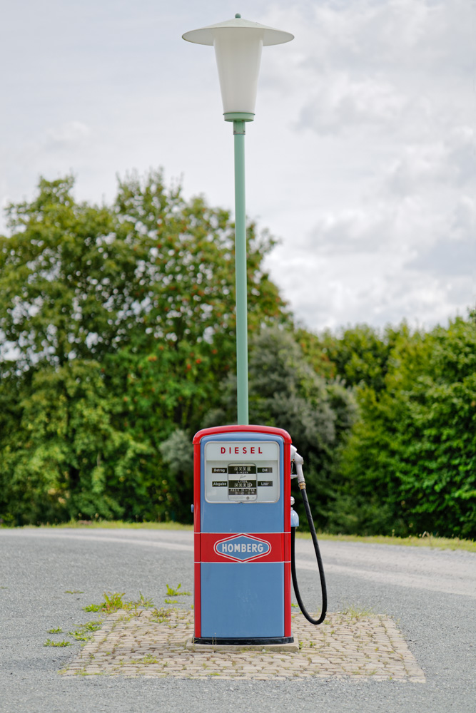 old gas pump and a street lamp in detmold